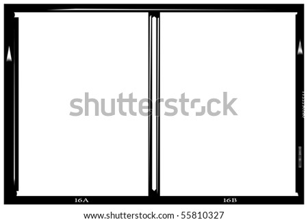 Stereo blank medium format negative picture frame,with free copy space, isolated on white background,