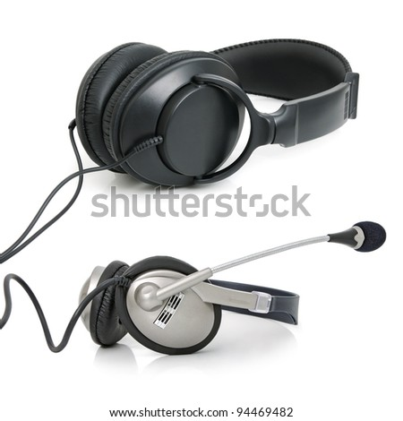 Stereo ear-phones for music listening isolated on white background. Collage.