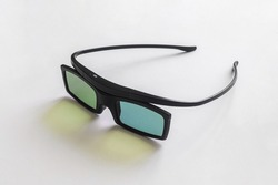 Stereo glasses for watching movies and TV shows in 3d format. Gadget for three-dimensional television