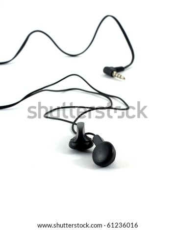 Stereo headphones with a cable and a plug isolated on white