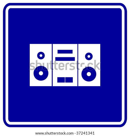 stereo music player sign