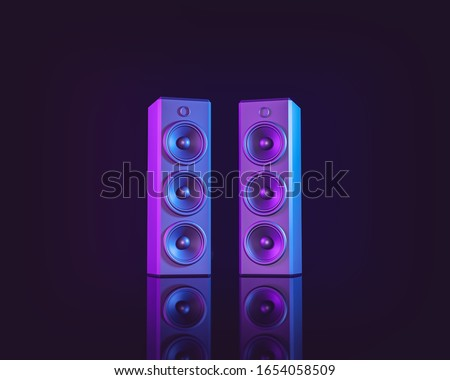 stereo speakers isolated on dark background. Minimalism concept. 3d rendering Сток-фото ©