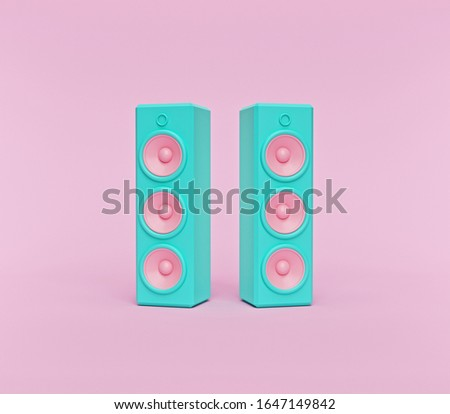 stereo speakers on pastel pink background. Minimalism concept. 3d rendering Сток-фото ©