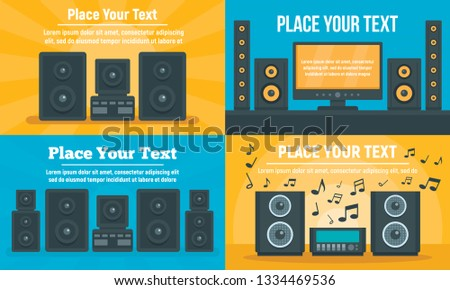 Stereo system banner set. Flat illustration of stereo system banner set for web design