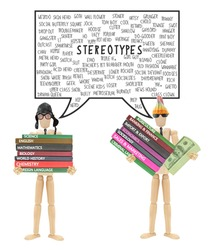 Stereotypes Thought Bubble: (Troublemakers, frat boy, wall flower, pothead, Geek, Thus, Brainiac, Emo, Nerd) Mannequins holding books