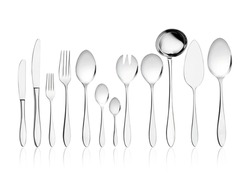 Sterling silver cutlery set on white background. Isolated luxury cutlery set.
