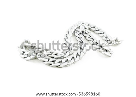 Sterling silver necklace with shape is chain. Stock photo ©