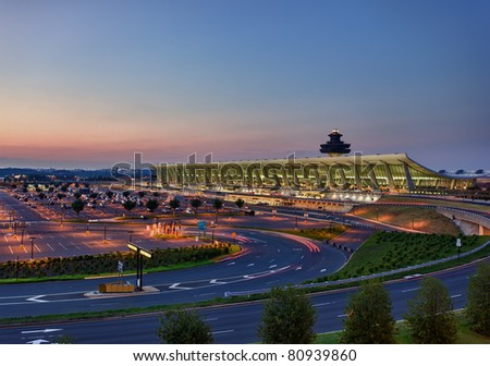 STERLING, VA - JULY 10: Washington Dulles International Airport at dawn on July 10, 2011. Dulles Airport is at the center of controversy over the location and cost of the planned metro station.