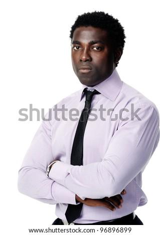 stern black african businessman posing for a portrait