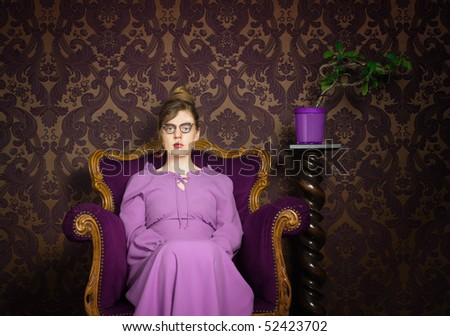 Stern lady in a purple setting