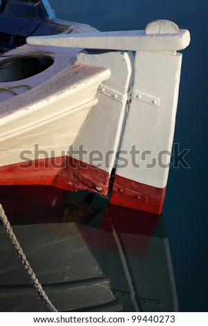 Stern of small fisher boat, Santorini, Greece