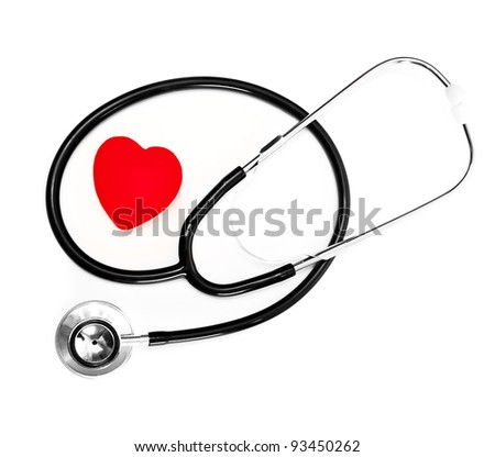 stethoscope and a red heart over a white background - stock photo