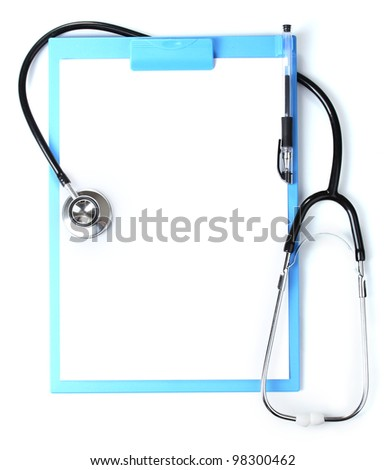 stethoscope and blue clipboard isolated on white