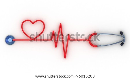 Stethoscope and cardiogram, 3D images