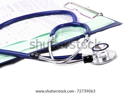 stethoscope and clipboard isolated on white background