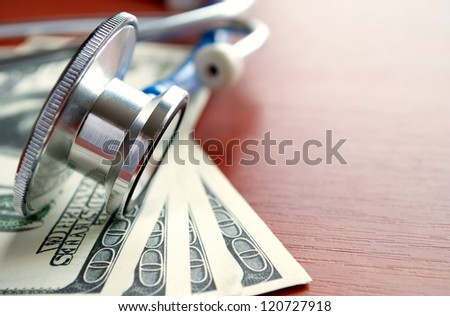 Stethoscope and dollars on the table