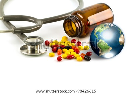 Stethoscope and earth (Elements of this image furnished by NASA)