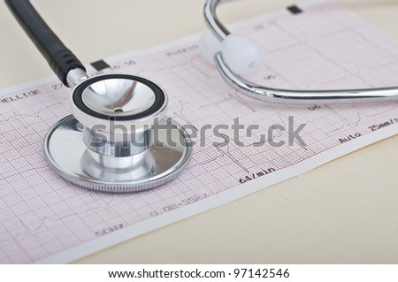 Stethoscope and electrocardiogram with great colors and good light