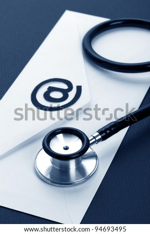 Stethoscope and email, concept of network Security