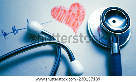 stethoscope and heart painted (medical concept)