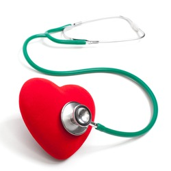 Stethoscope and heart. The isolated background