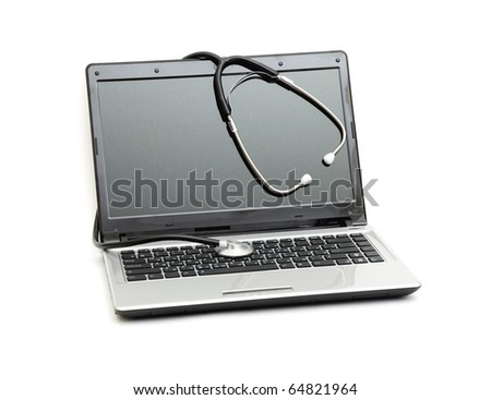 Stethoscope and laptop computer