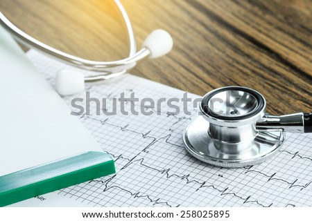 Stethoscope and medical check-up report for healthcare concept #258025895