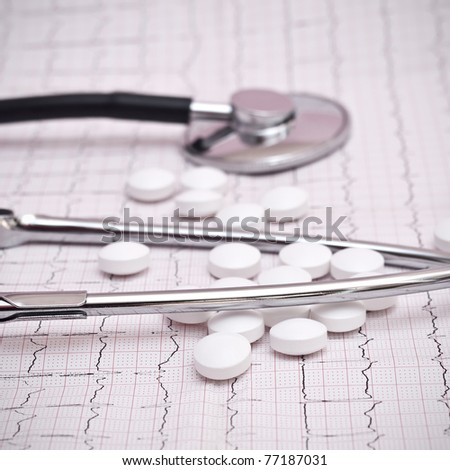 stethoscope and pills on ecg