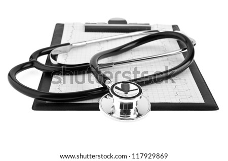 stethoscope and plane-table on a white background
