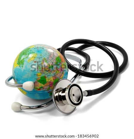 Stethoscope and small planet earth isolated on white