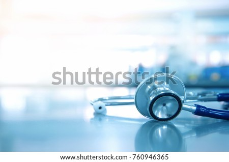 stethoscope for doctor checkup on health medical laboratory table background - Shutterstock ID 760946365