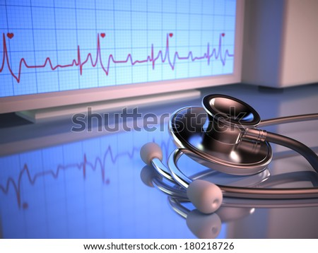 Stethoscope in front of the heartbeat monitor