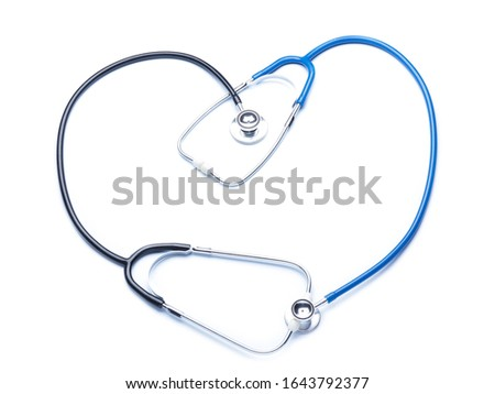 Stethoscope in shape of heart on white background. Cardiology concept