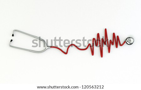 stethoscope medical tool isolated on white background - stock photo