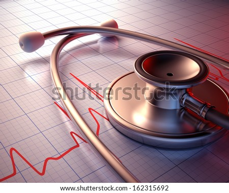 Stethoscope on a graph of the patient's heartbeat. Clipping path included.