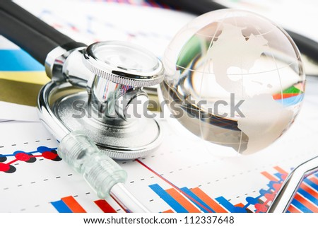 Stethoscope on a statistics graphic