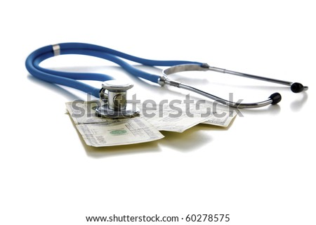 "Stethoscope on american money, represents concepts of  ""Financial Check Up"", High Cost of ""health care"", High Cost of ""Health Insurance"" and more"