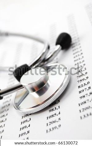 stethoscope on medical data showing medical or hospital concept