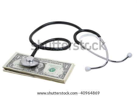 Stethoscope on money with clipping path