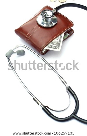 stethoscope on purse money