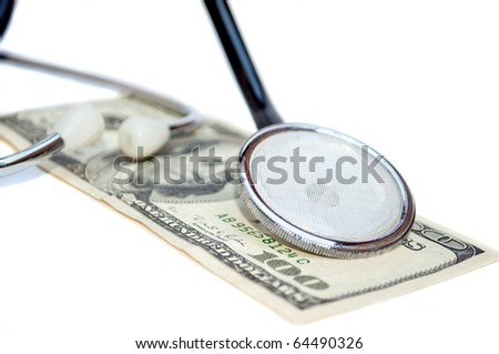 Stethoscope on the 100 dollar banknote
