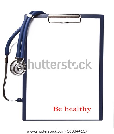Stethoscope on the tablet with a clean sheet for the text