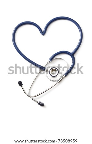 Stethoscope shaping a heart, from above