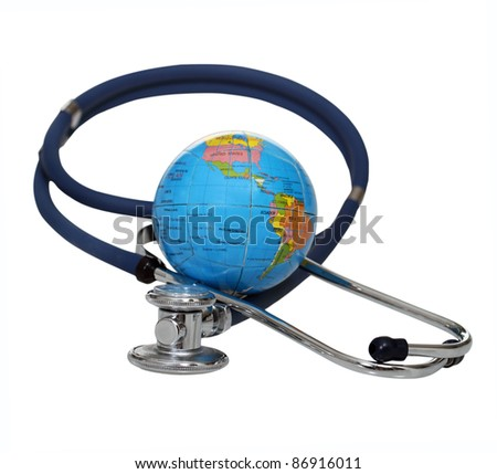 Stethoscope with globe isolated on a white background