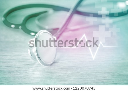 Stethoscope with heartbeat graph #1220070745