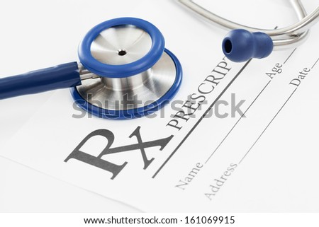 Stethoscope with medical prescription
