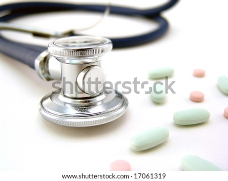 stethoscope with pills