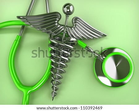 Stethoscope with symbol of medicine, caduceus. 3d - stock photo