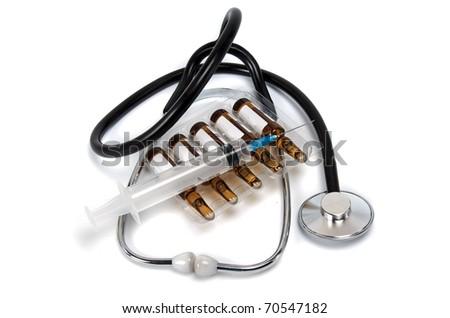 stethoscope with syringe on white background