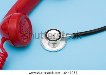 Stethoscope with telephone, help with your medical questions